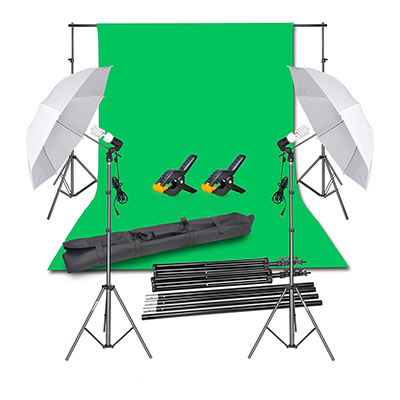 Emart Continuous Lighting Kit w/ Chromakey Green Screen